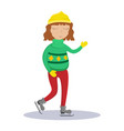 girl in a sweater on skates vector image vector image