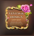 golden vintage frame with pearl and rose vector image vector image