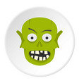 green zombie head icon circle vector image