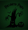 halloween party old tree pumpkin and bats vector image vector image