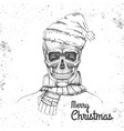 hand drawing hipster skull with new year hat vector image vector image