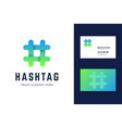 hashtag logo and business card template vector image