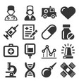 health medic icons set on white background vector image vector image