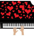 Heart love music piano playing a song for valentin vector image vector image
