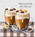 hot chocolate beverage realistic winter vector image vector image