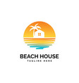 house and beach logo design te vector image