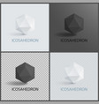 icosahedron geometric 3d shapes in black and white vector image vector image