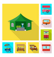 isolated object of market and exterior logo set vector image