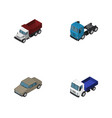isometric car set of freight auto lorry and vector image vector image