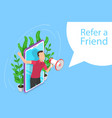 isometric flat concept refer a friend vector image