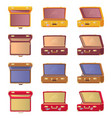lot of opened colorful cases vector image vector image