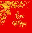 love autumn card vector image vector image