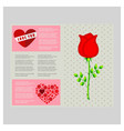 love you with heart and rose vector image