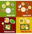 Malaysian and indian cuisine dishes vector image vector image