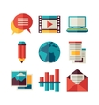 media and communication set blog icons vector image