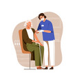nurse with syringe vaccinating aged person with vector image vector image
