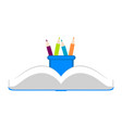 open book and pencils icon vector image