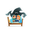 pair of scared children sitting on bed and hiding vector image