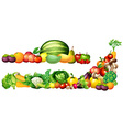 Pile of fresh vegetables and fruits vector image vector image