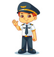 pilot boy friendly welcoming pose vector image