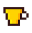 pixel cup of coffee tea cartoon retro game style vector image