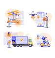post delivery flat set vector image