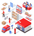 post service isometric set vector image