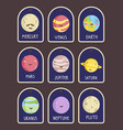 price tag with planets cartoons set vector image vector image