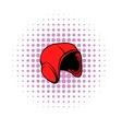 Red helmet icon comics style vector image vector image