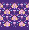 seamless pattern with little princess mermaid on a vector image