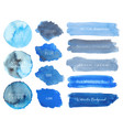 set of blue watercolor on white background vector image vector image