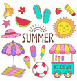 set of isolated summer icon part 1 vector image