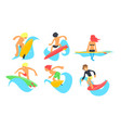 surfers characters riding waves set young man and vector image vector image