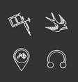 tattoo studio chalk icons set vector image