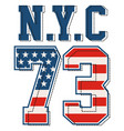 vintage nyc 73 t shirt graphic vector image vector image