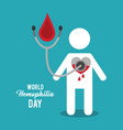 world hemophilia day avatar blood heart vector image