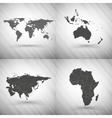 World maps set on gray background grunge texture vector image vector image