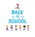 Happy kids on white background back to school vector image