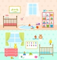 Set Playrooms for Kids Baby Rooms Interior vector image