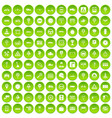 100 traffic icons set green circle vector image vector image