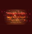2018 happy new year card in red color vector image