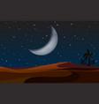 a desert landscape at night vector image