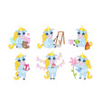 adorable unicorn cartoon character set cute vector image