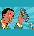 african american businessman is mining bitcoins vector image vector image