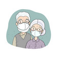 aged people in white medical face mask for prevent vector image