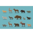 Animals icons Wild boar bear fox deer horse vector image