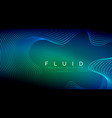 blue neon particles glowing fluid wave lines vector image vector image
