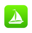 boat with sails icon digital green vector image vector image