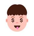 boy head emoji personage icon with facial emotions vector image vector image