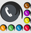 Call icon Symbols on eight colored buttons vector image vector image